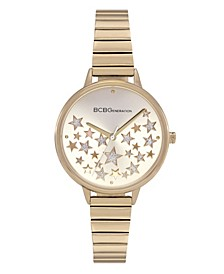 Ladies 3 Hands Slim Gold-Tone Stainless Steel Bracelet Watch, 34 mm Case