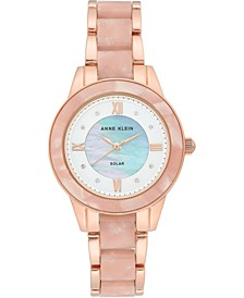Women's Considered Solar-Powered Rose Gold-Tone & Pink Resin Bracelet Watch 34mm