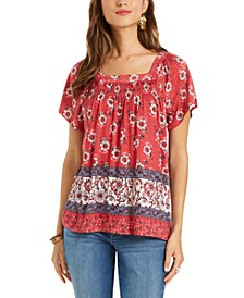 Mixed-Print Square-Neck Top, Created for Macy's
