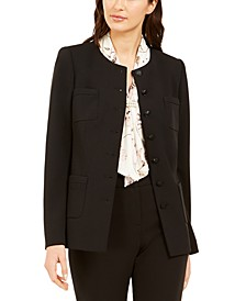 Button-Front Crepe Jacket