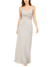 Nightway Stretch Metallic Crossover Gown