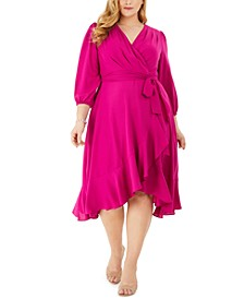 Plus Size Ruffled Wrap Midi Dress