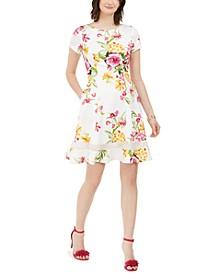 Petite Scuba Floral Fit & Flare Dress