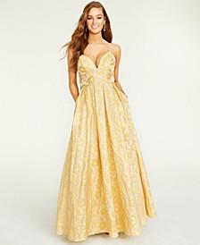 Juniors' Floral Jacquard Gown