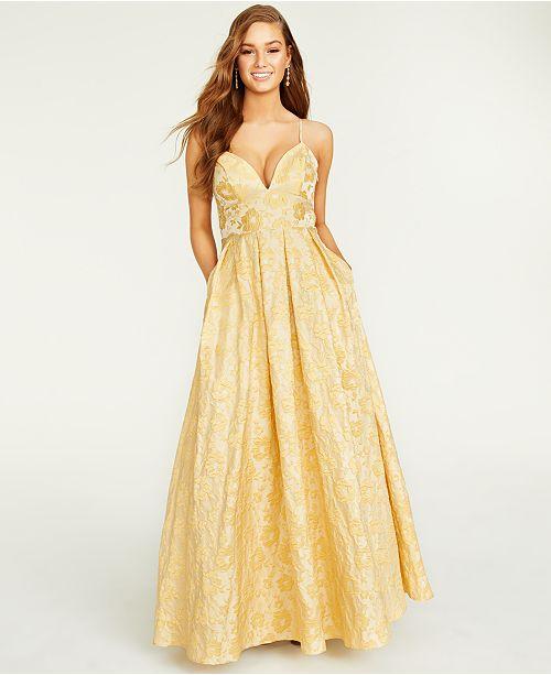 Trixxi Juniors' Floral Jacquard Gown