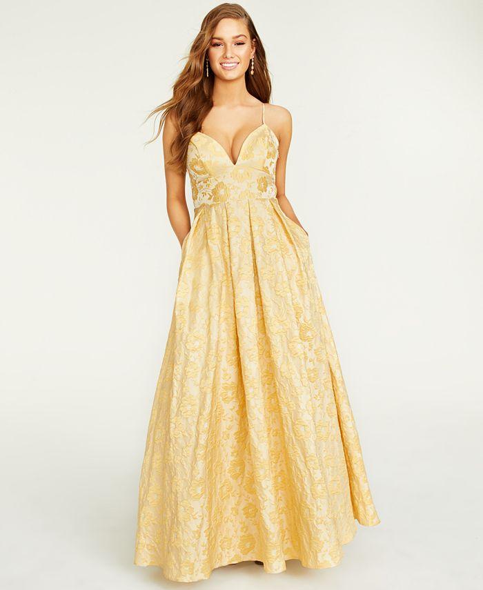 Trixxi - Juniors' Floral Jacquard Gown