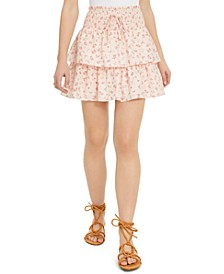 Juniors' Printed Tiered Eyelet Mini Skirt