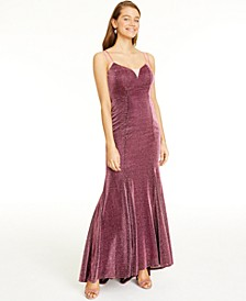 Juniors' Sherri Glittering Lace-Up Dress