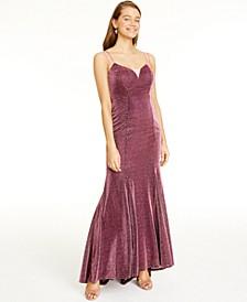 Juniors' Sherri Glittering Lace-Up Dress