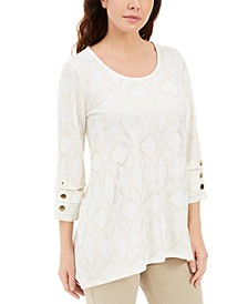 Metallic-Print Buttoned-Cuff Top, Created for Macy's