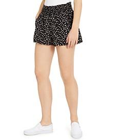 Juniors' Floral-Printed Smocked-Waist Shorts