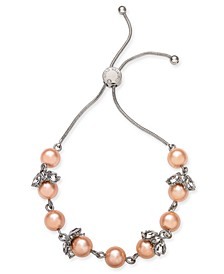 Silver-Tone Crystal & Imitation Pearl Slider Bracelet, Created for Macy's