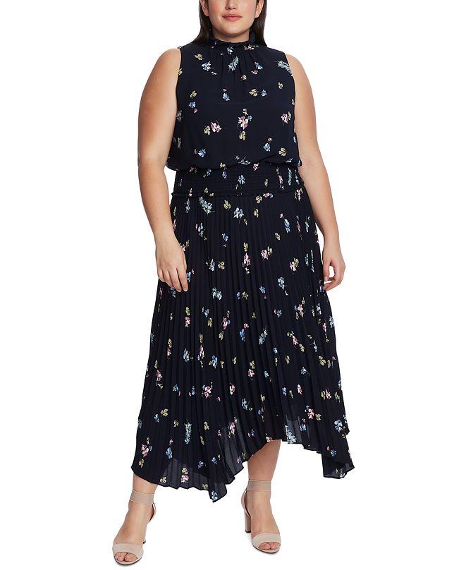 Vince Camuto Plus Size Floral-Print Pleated Dress