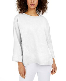 Linen Bracelet-Sleeve Top, Regular & Petite
