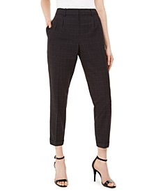 Slim-Leg Ankle Windowpane Pants
