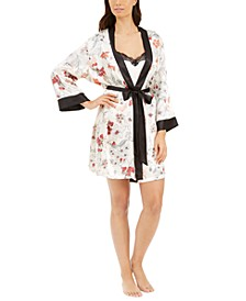 Floral Wrap Robe & Lace-Trim Chemise 2pc Set
