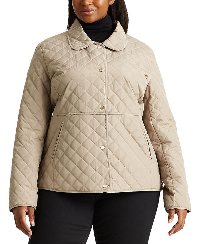 Lauren Ralph Lauren Plus Size Faux-Leather-Trim Quilted Jacket