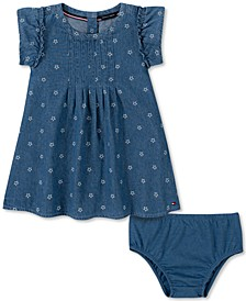 Baby Girls Cotton Star-Print Chambray Dress