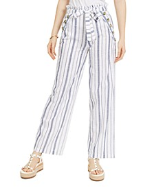 Juniors' Striped Belted Sailor Pants