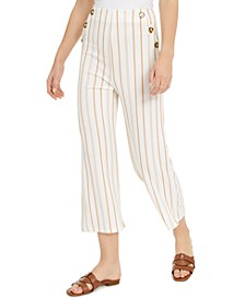 Juniors' Striped High-Rise Cropped Sailor Pants