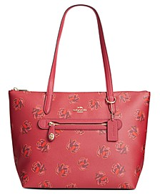 Floral Print Leather Taylor Tote