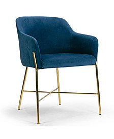Ana Velvet Arm Dining Chair with Metal Legs