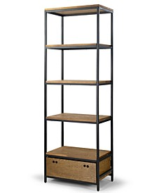 Amy Pine Wood Display Shelf Etagere Metal Frame Bookcase with Drawer