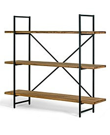 "Ailis 56"" Pine Wood Metal Frame Etagere Three Wide Shelf Bookcase Media Center"