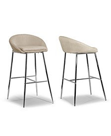 Set of 2 Agatha Modern Cream Fabric Bar Stool with Chrome Frame
