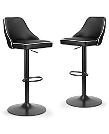 Set of 2 Alston Adjustable Height Swivel Bar Stool with Piping