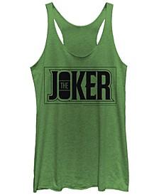 DC Batman The Joker Text Box Tri-Blend Women's Racerback Tank