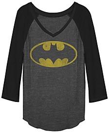 DC Batman Classic Oval Logo Raglan Baseball Women's T-Shirt