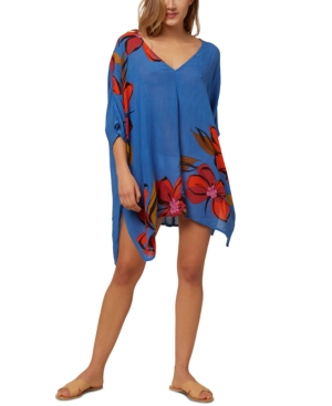 O'neill Juniors' Tessa Printed Cover-up Dress Women's Swimsuit In Blue