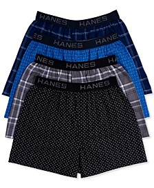Men's Platinum Underwear, Elastic Waistband Plaid Woven Boxer 4 Pack