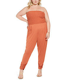 FULL CIRCLE TRENDS Trendy Plus Size Smocked-Top Jumpsuit
