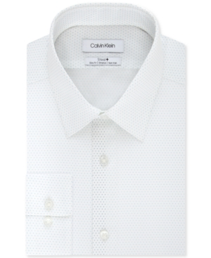 Calvin Klein Men's Steel+ Slim-Fit Non-Iron Performance Stretch Blue Dot-Print Dress Shirt