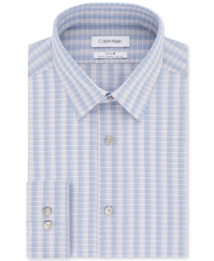 Calvin Klein Men's Steel+ Slim-Fit Non-Iron Performance Stretch Blue Multi-Check Dress Shirt