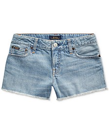 Big Girls Frayed Cotton Denim Shorts
