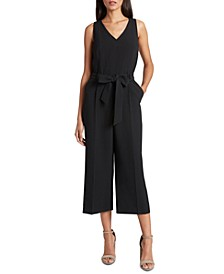 Belted Sleeveless Cropped Jumpsuit