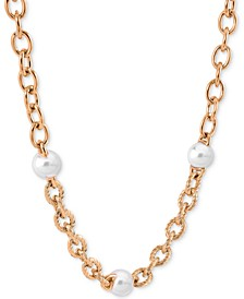 """Stainless Steel Link & Imitation Pearl Collar Necklace, 16"""" + 2"""" extender"""