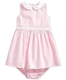 폴로 랄프로렌 여아용 원피스 Polo Ralph Lauren Baby Girls Cotton Seersucker Dress & Bloomer,Pink Multi