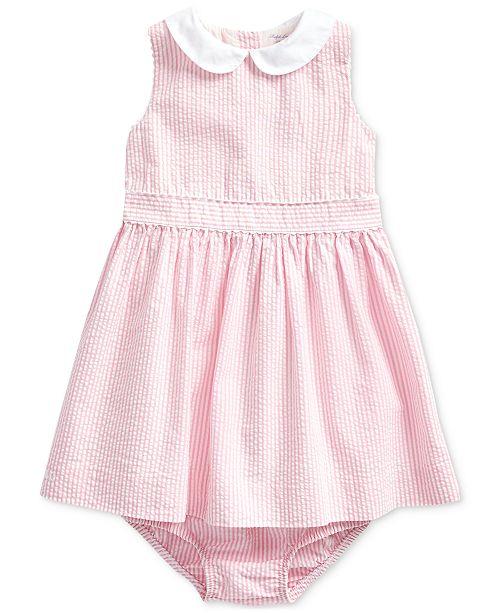 Polo Ralph Lauren Baby Girls Cotton Seersucker Dress Bloomer