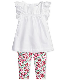 폴로 랄프로렌 여아용 레깅스 Polo Ralph Lauren Baby Girls Eyelet Top & Floral Leggings Set,White