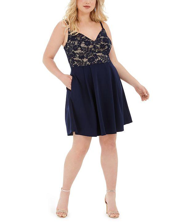 B Darlin Trendy Plus Size Lace-Top A-Line Dress