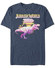 Jurassic World Men's Neon Purple Yellow T-Rex Short Sleeve T-Shirt