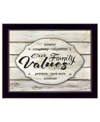 Our Family Values by Cindy Jacobs, Ready to hang Framed Print, Black Frame, 19