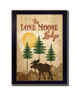 Lone Moose By Mollie B., Printed Wall Art, Ready to hang, Black Frame, 14