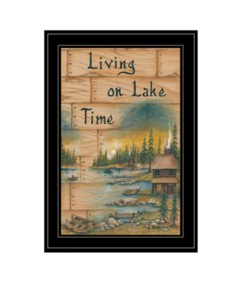 Living On The Lake by Mary June, Ready to hang Framed Print, White Frame, 15