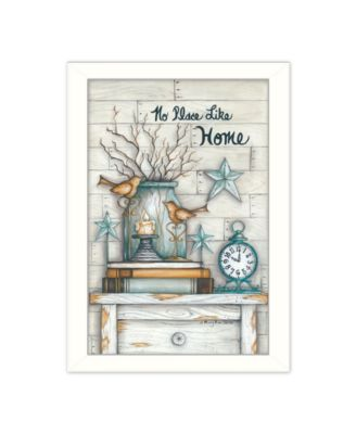 No Place Like Home By Mary June, Printed Wall Art, Ready to hang, White Frame, 14