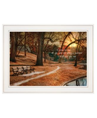 I Will Give You Rest by Robin-Lee Vieira, Ready to hang Framed print, White Frame, 18